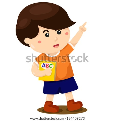 Illustrator of boy learning and book - stock vector
