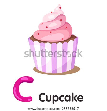 Illustrator of C font with cupcake - stock vector
