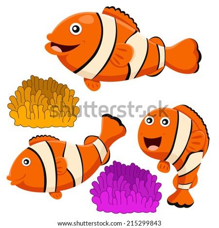 Illustrator of clown fish  - stock vector
