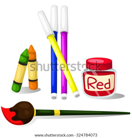 Illustrator of color with Color Magic Color pencil crayons and paintbrush - stock vector