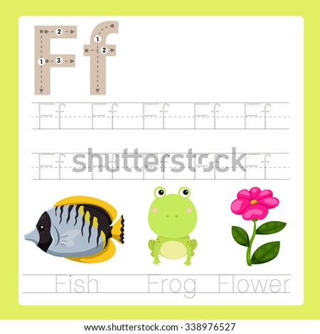 Illustrator of F exercise A-Z cartoon vocabulary  - stock vector