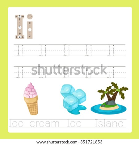 Illustrator of I exercise A-Z cartoon vocabulary - stock vector
