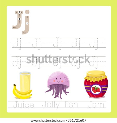 Illustrator of J exercise A-Z cartoon vocabulary - stock vector