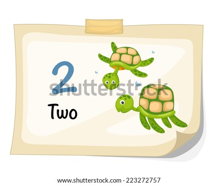 Illustrator of number two turtle vector - stock vector