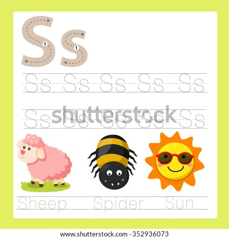Illustrator of S exercise A-Z cartoon vocabulary - stock vector