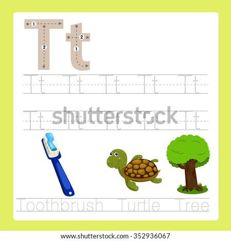 Illustrator of T exercise A-Z cartoon vocabulary - stock vector