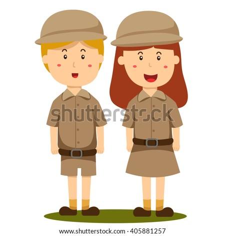 Illustrator of zoo keeper boy and girl - stock vector