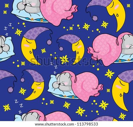 Illyustrayiya texture sleeping teddy bear and moon - stock vector