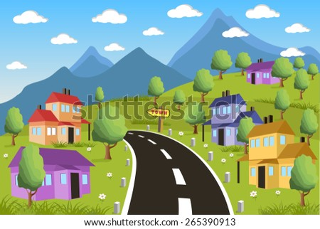 Ilustration of a little town in a calm and tranquil environment - stock vector