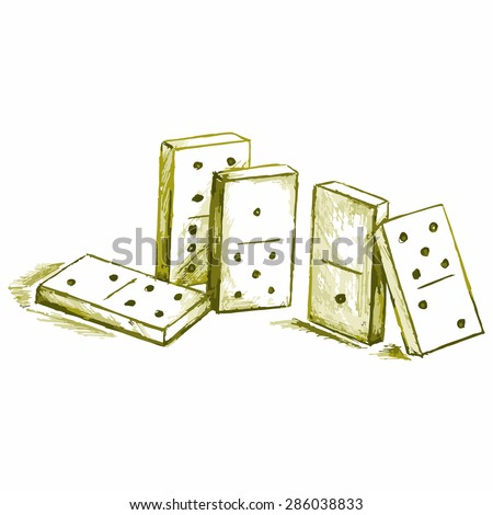 Image dominoes. Equipment for games - stock vector