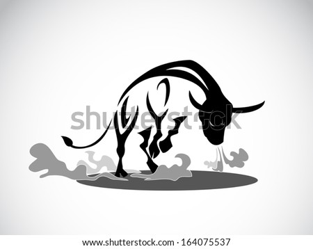 image graphic style of angry bull isolated on white background - stock vector