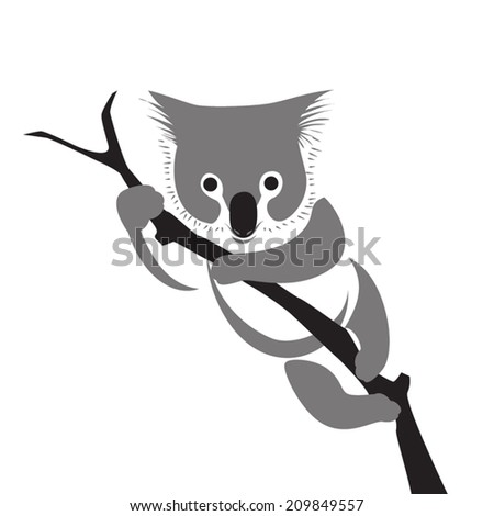 image graphic style of koala isolated on white background - stock vector