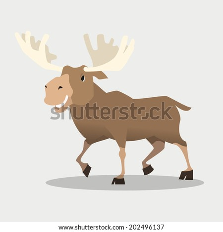 image graphic style of moose  isolated on white background - stock vector