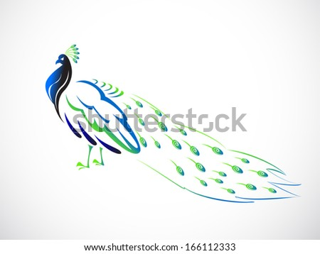 image graphic style of peacock isolated on white background - stock vector