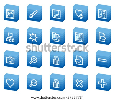 Image library  web icons, blue box series - stock vector