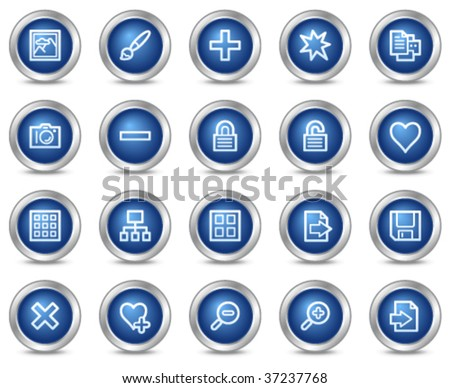 Image library web icons, blue circle buttons series - stock vector