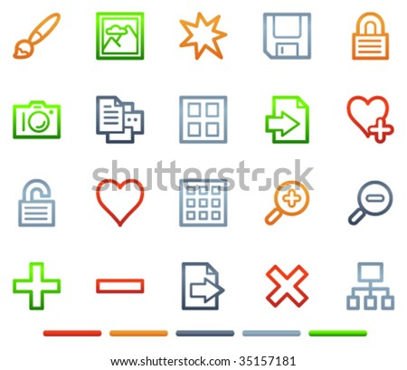 Image library web icons, colour symbols series - stock vector