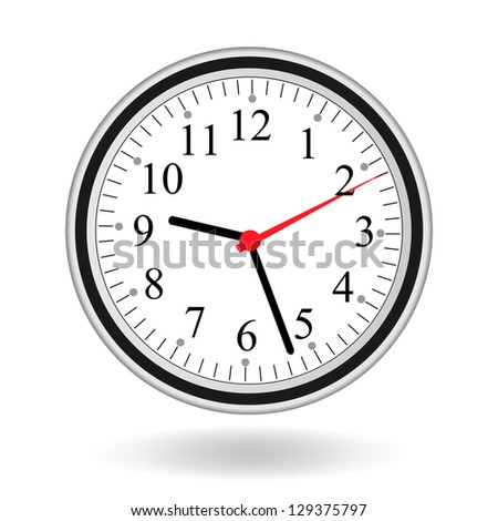 Image of a clock isolated on a white background. - stock vector