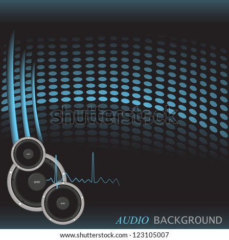 Image of a colorful, blue audio background with speakers. - stock vector