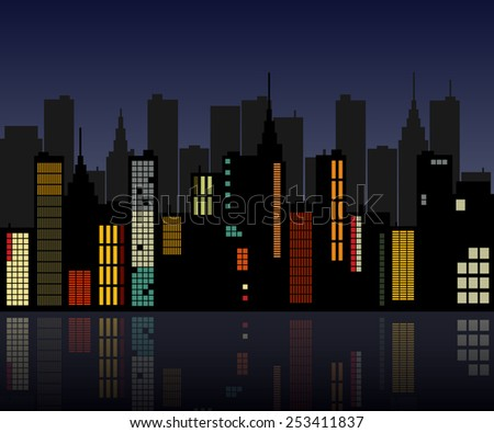 Image of a colorful retro city skyline. - stock vector
