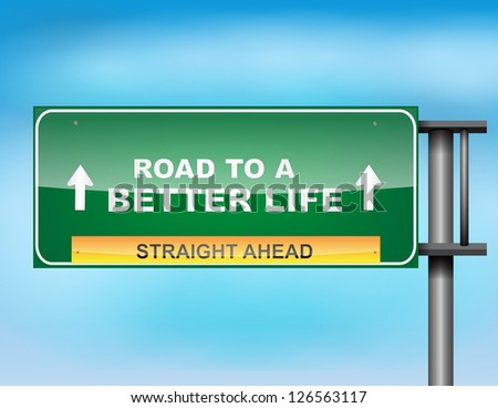 Image of a glossy highway sign on blue sky - stock vector