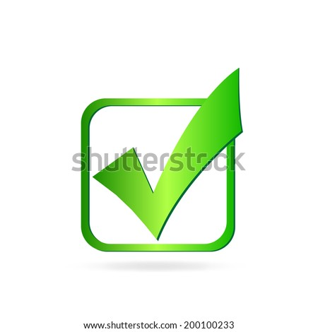 Image of a green check mark isolated on a white background. - stock vector