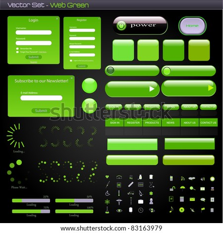 Image of a green web template with forms, bars, buttons and icons on a dark background. - stock vector