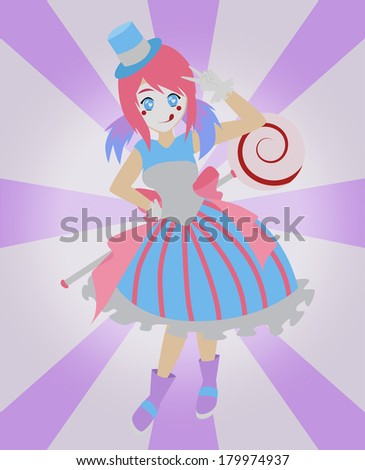 image of a Japanese style clown on a girly background  - stock vector