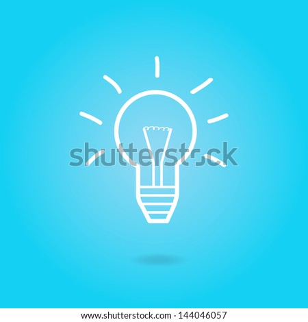 Image of a light bulb against a colorful blue background. - stock vector