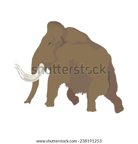 Image of a mammoth in the style of ancient rock paintings - stock vector