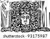 Image of a Mayan king from a ruined stele. - stock vector