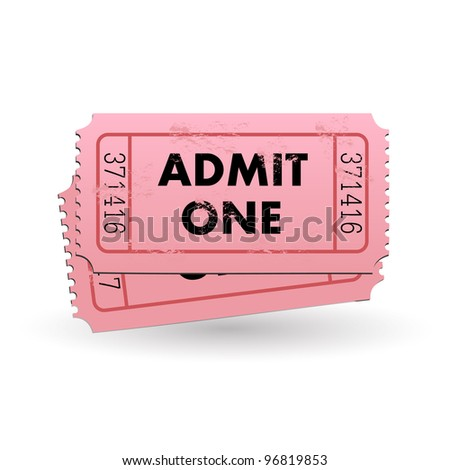 Image of a pink Admit One ticket isolated on a white background. - stock vector