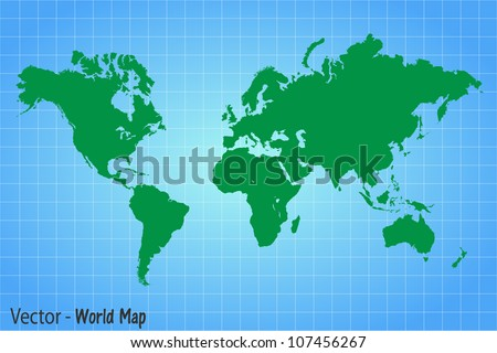 Image of a vector world map against a colorful blue background. - stock vector