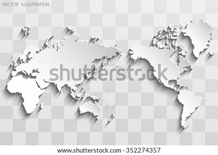 Image of a vector world map on a chess board - stock vector