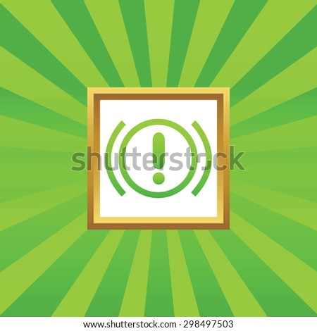 Image of alert sign in golden frame, on green abstract background - stock vector