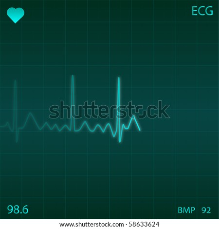 Image of an electronic heart monitor. - stock vector