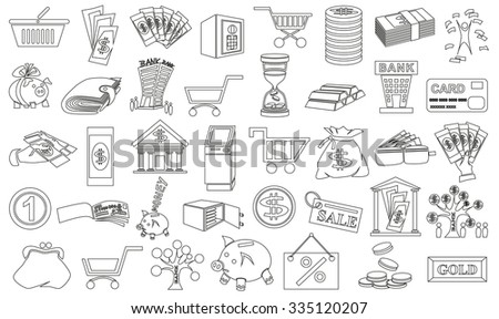 Image of black contour icons on a white background with money. - stock vector