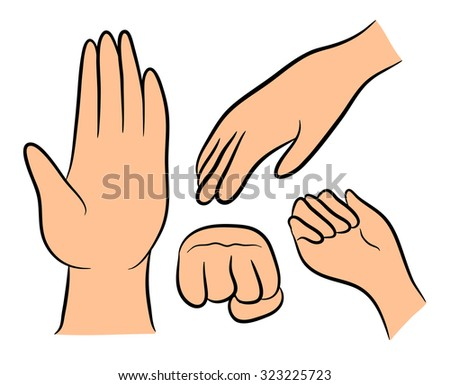Image of cartoon human hand gesture set. Vector illustration isolated on white background. - stock vector