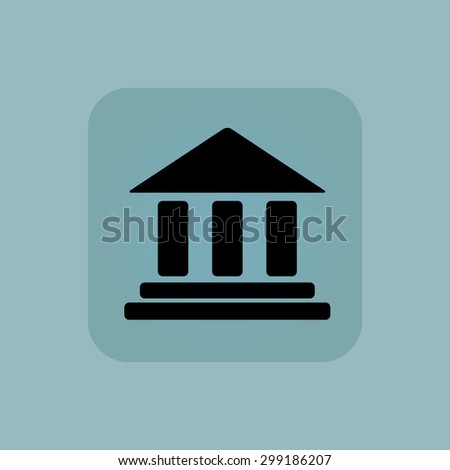 Image of classical building with pillars in square, on pale blue background - stock vector