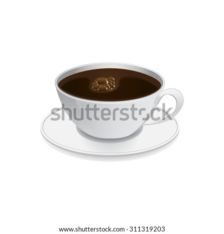image of coffee cup standing on saucer - stock vector