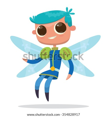 Image of cute cartoon male fairy with big eyes, blue hair and butterfly wings. He wears a blue prince costume. Positive character. vector illustration - stock vector