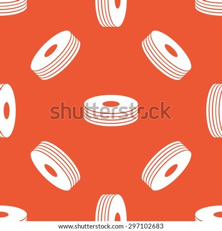 Image of disc pile, repeated on orange background - stock vector