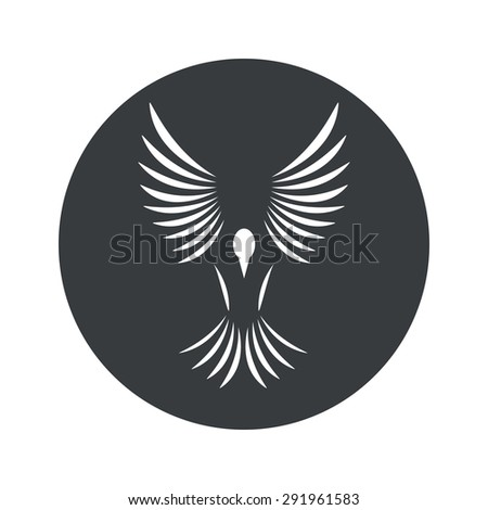 Image of flying bird in black circle, isolated on white - stock vector