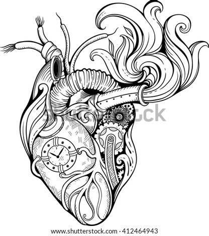 Image of heart in steampunk style. Black and white. - stock vector