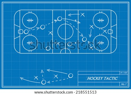 image of hockey tactic on blueprint. Transparency used.  - stock vector
