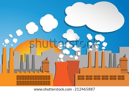image of industrial pollution. Transparency effects used.  - stock vector