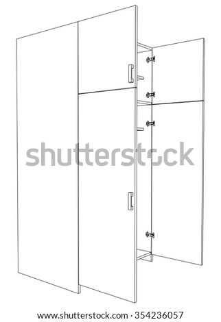 Image of open cabinet on white background, vector illustration - stock vector