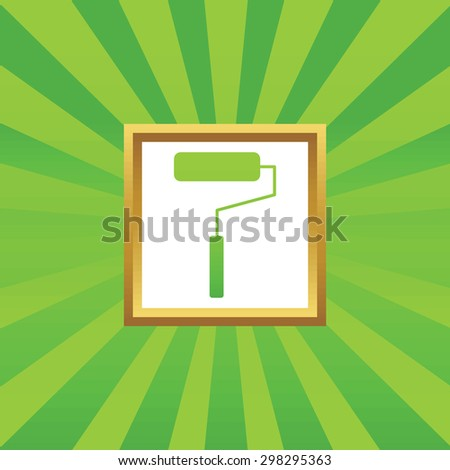 Image of paint roller in golden frame, on green abstract background - stock vector