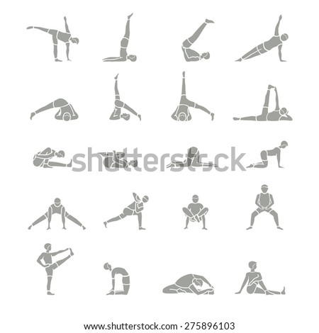 Image of people performing yoga poses, vector illustration - stock vector