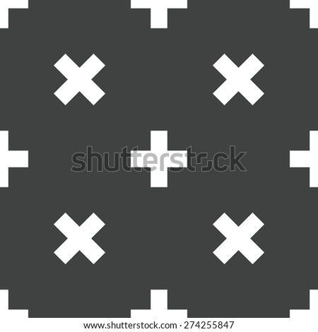 Image of plus sign repeated on grey background - stock vector
